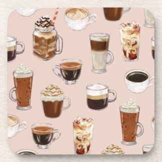 Coffee Drinks and Desserts Pattern Beverage Coaster