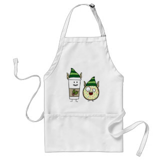 Coffee Elf  and Crazy Donut Elf Adult Apron
