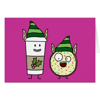 Coffee Elf  and Crazy Donut Elf Greeting Card