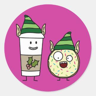 Coffee Elf  and Crazy Donut Elf Classic Round Sticker