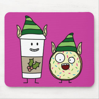 Coffee Elf  and Crazy Donut Elf Mouse Pad