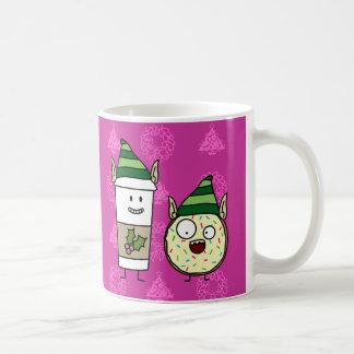 Coffee Elf and Crazy Donut Elf Mugs