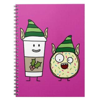 Coffee Elf and Crazy Donut Elf Spiral Note Book