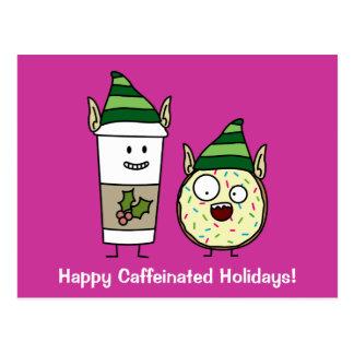 Coffee Elf  and Crazy Donut Elf Postcard
