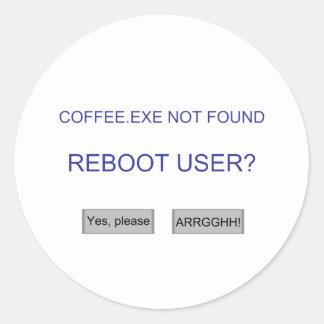 Coffee.exe Classic Round Sticker