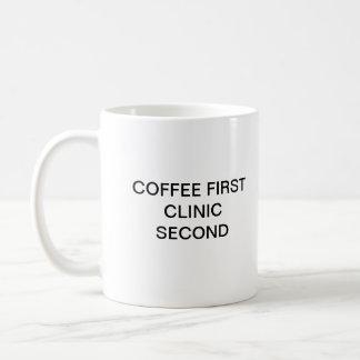 COFFEE FIRST CLINIC SECOND CLASSIC WHITE COFFEE MUG