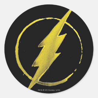 Coffee Flash Symbol - Yellow Classic Round Sticker