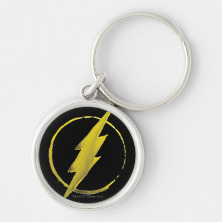 Coffee Flash Symbol - Yellow Silver-Colored Round Keychain