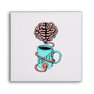 Coffee for the brain. Funny coffee illustration Envelope