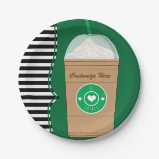 Coffee Frap Modern Chic Cute Birthday Party Paper Plate