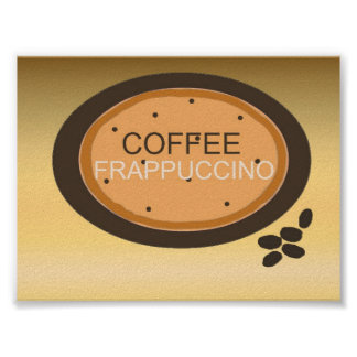 Coffee Frappuccino Sign in Orange and Brown Poster