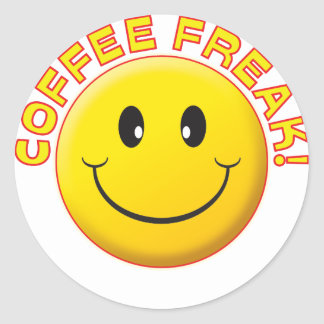 Coffee Freak Smile Classic Round Sticker