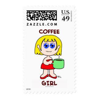 COFFEE GIRL - BLONDE HAIR POSTAGE