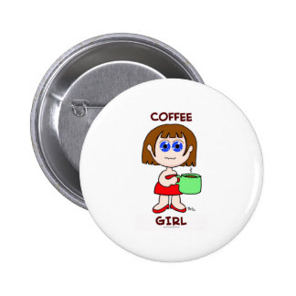 COFFEE GIRL - BROWN HAIR PINBACK BUTTONS