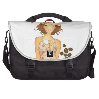 Coffee Girl Drinking Espresso Bags For Laptop