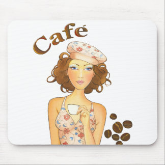 Coffee Girl Drinking Espresso Mouse Pad