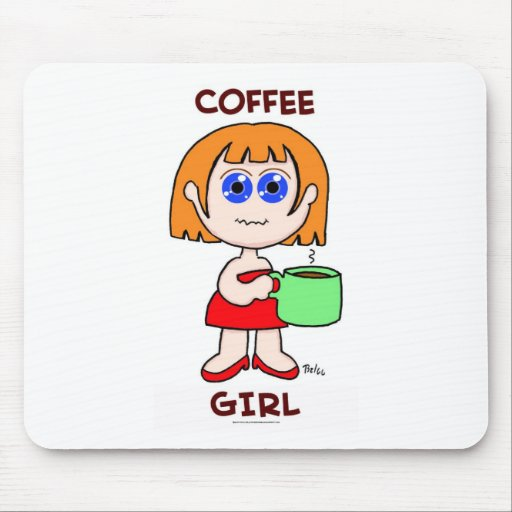 COFFEE GIRL - RED HAIR MOUSE PAD