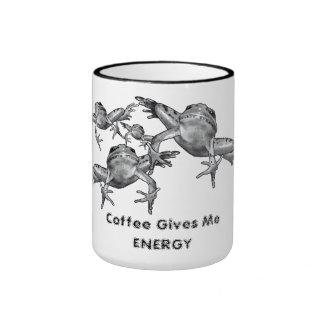 Coffee Gives Me Energy: Leaping Frogs: Pencil Ringer Coffee Mug