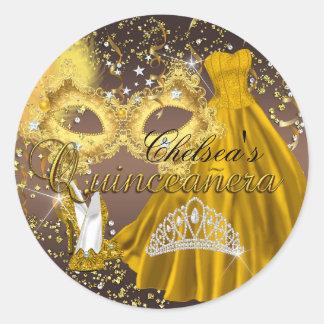 Coffee & Gold Mask Masquerade Quinceanera Sticker