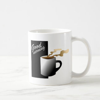 Coffee Graphic B&W Good Morning Classic White Coffee Mug