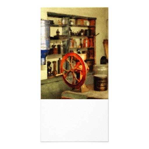 Coffee Grinder and Canister of Sugar Custom Photo Card