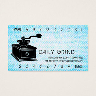 Coffee Grinder / Loyalty Punch on Textured Look Business Card