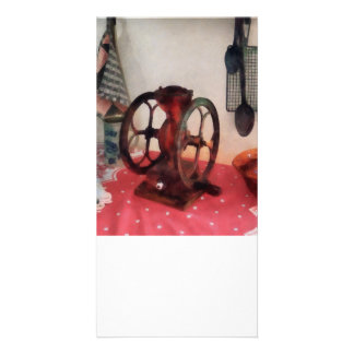 Coffee Grinder on Red Tablecloth Photo Cards