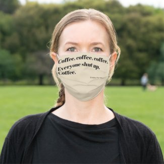 Coffee Haiku for Mornings black Typography Cloth Face Mask