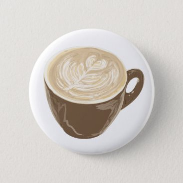 Coffee Themed coffee heart art button