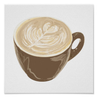 coffee heart art poster