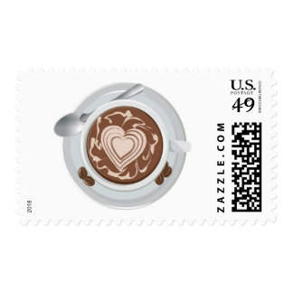 Coffee Heart Postage Stamp