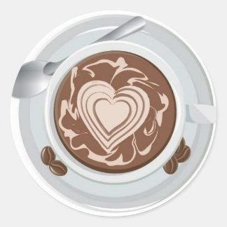 Coffee Heart Round Sticker