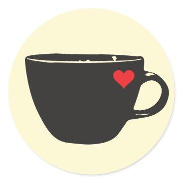 Coffee Themed Coffee Heart Sticker