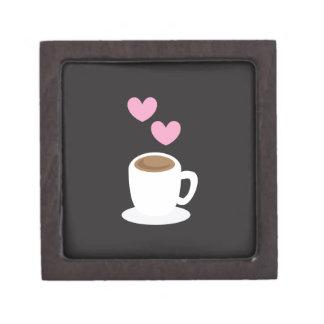 Coffee Hearts on black Gift Box