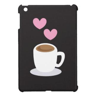 Coffee Hearts on black iPad Mini Covers