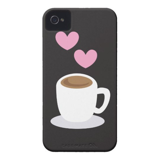 Coffee Hearts on black iPhone 4 Cover