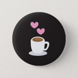 Coffee Hearts on black Pinback Button