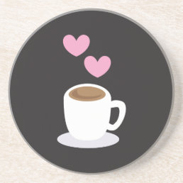 Coffee Hearts on black Sandstone Coaster