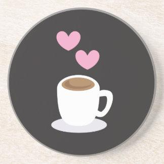 Coffee Hearts on black Sandstone Coaster