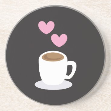 Coffee Themed Coffee Hearts on black Sandstone Coaster