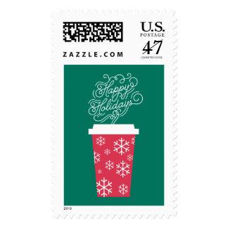 Coffee Holiday Christmas Green Postage Stamp
