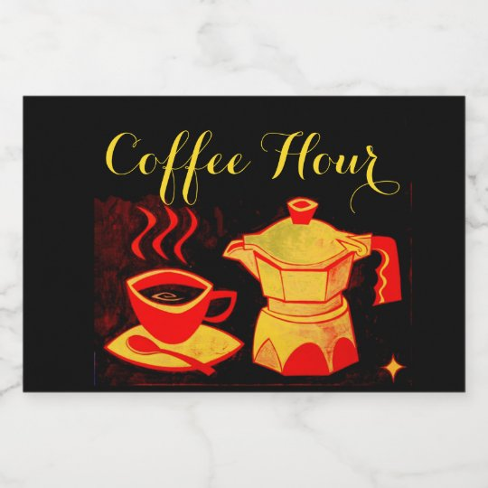 COFFEE HOUR /Red Yellow Coffee Cup And Coffeepot Food