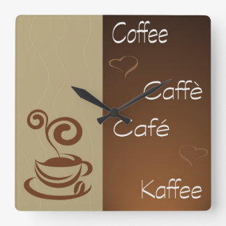 coffee hour square wall clock