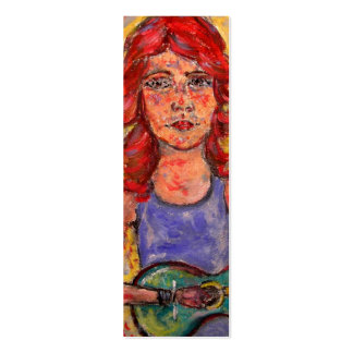 coffee house acoustic girl art Double-Sided mini business cards (Pack of 20)