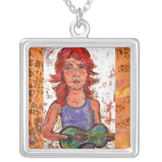 coffee house girl orange drip square pendant necklace