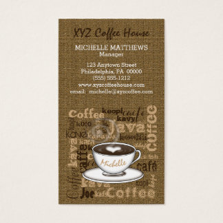 Coffee House Manager Barista Burlap Look Template Business Card