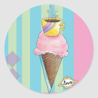 Coffee + Ice Cream = Love A Dreamy Dessert Classic Round Sticker