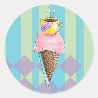 Coffee + Ice Cream = Love A Dreamy Dessert Round Sticker