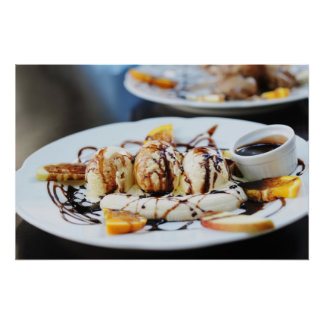 coffee ice-cream with chocolate syrup poster