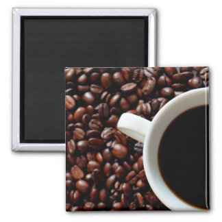 Coffee in Cup and Coffee Beans Magnet